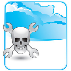 skull and wrenches blue cloud background