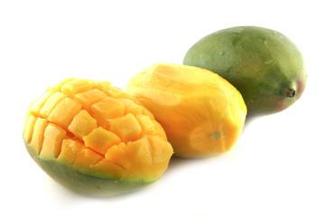 fresh mango in row isolated