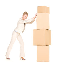 businesswoman with boxes