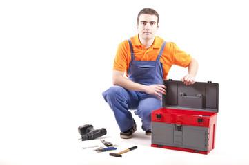 mechanic and toolbox