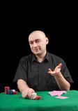 banker poker . Isolated over black poster
