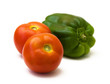 Two tomatoes and green pepper