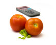 Two tomatoes and calculator
