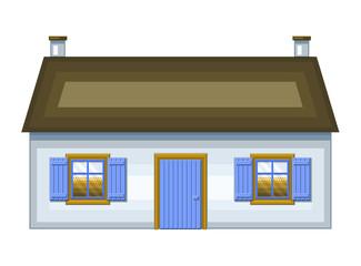 Casetta bretone bianca e azzurra
