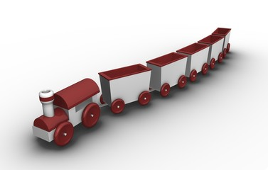 Toy train with 5 carriages