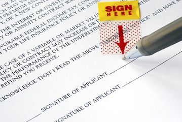 Sign your name here on the contract