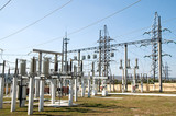 general view to high-voltage substation poster