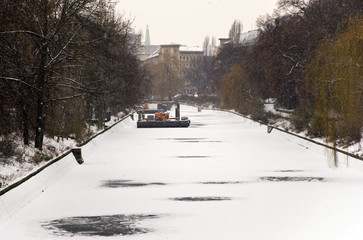 berlin in winter with frozen ice on the landwehrkanal