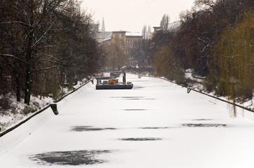 berlin in winter with frozen ice on the landwehrkanal