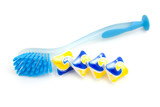 blue dishwashing brush and tablets over white background poster