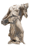 Ancient greek marble statue of a woman or goddess  isolated on w poster
