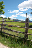 Wooden fence on the mountain pasture