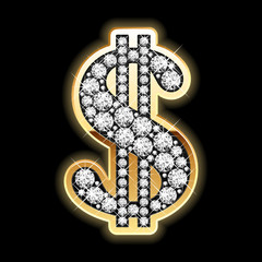 Bling-bling. Dollar symbol in diamonds. Vector.