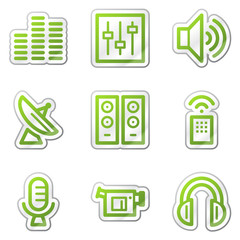 Media web icons, green contour sticker series