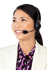 Young Asian customer service representative using headset