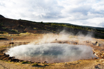 Geothermal area in Geysir region in Iceland