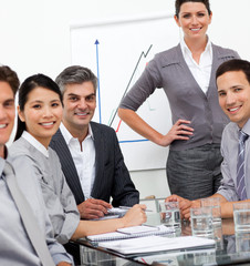 A diverse business team at a presentation