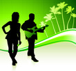 Musical Band on Tropical Green Background