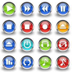 Collection of 16 Media Player glossy buttons & icons