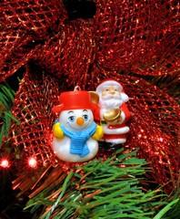 Babbo Natale e pupazzo di neve