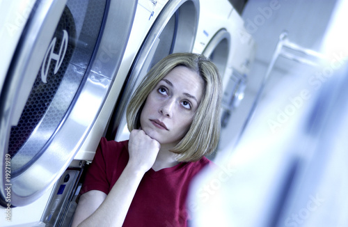 Woman at laundromat