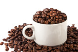 cup of coffee beans isolated