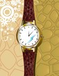 Illustration of beautiful stylish ladies watch with brown strap