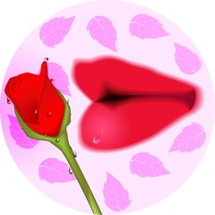 Illustration of lips and rose with leaf background
