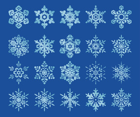 Image set of 20 stylized snowflakes