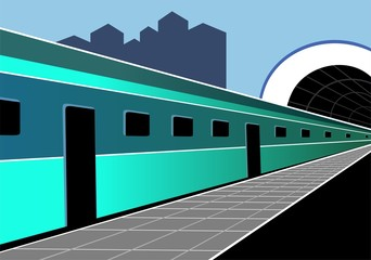 Illustration of subway in colour background