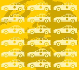 Illustration of taxi car in yellow colour background