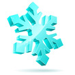 Abstract 3D vector snowflake isolated on white