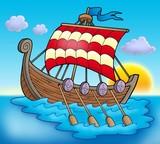 Viking boat on sea poster