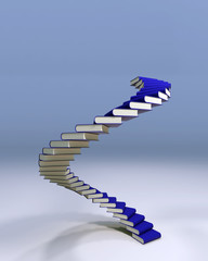 Spiral stair of books leading to succes