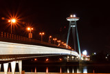 New Bridge over Danube River in Bratislava, Slovakia, at Night poster