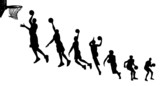 Basketball sequence silhouettes poster