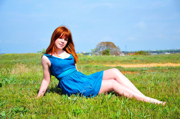 redheaded beauty on the meadow
