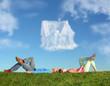 Leinwanddruck Bild - lying couple on grass and dream house collage