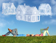 Leinwanddruck Bild - lying couple on grass and dream three cloud houses collage
