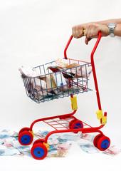 Geld im Einkaufswagen