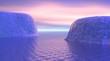 Icebergs by sunrise