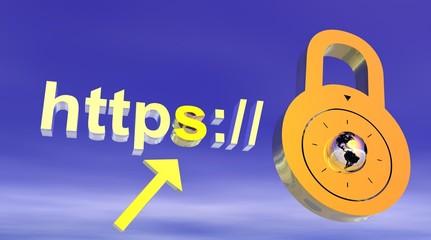 Internet secure address with padlock
