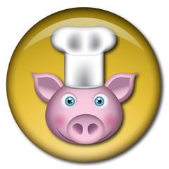 Chapa cabeza de cerdo cocinero