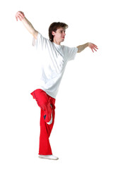 cool modern man dancer isolated on white