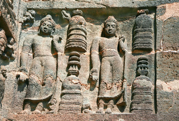Stone sculptures on the  Buddhist R temples at Ajanta