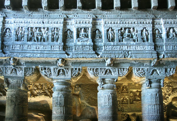 Inside of ancient Buddhist temple carved in stone. Ajanta