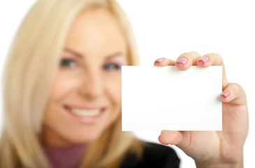 positive woman blank business card