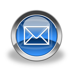 email icon & button blue glass