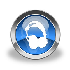 icon of headphones; blue and glass
