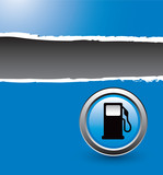 gas icon blue ripped banner poster